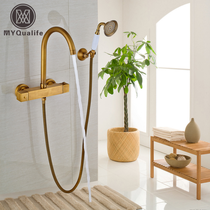 Good Quality Thermostatic Mixer Valve Brass Antique Bathtub Faucet with Handheld Shower + Handshower Holder