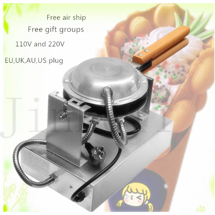 Free ship Best professional electric Chinese Hong Kong eggettes puff waffle iron maker machine bubble egg cake oven 220V/110V free delivery nozzle 253 433 512 kong