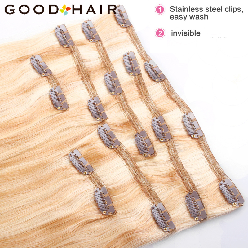 GOOD HAIR Straight Clip In Human Hair Extensions Қара - Адам шашы (ақ) - фото 3