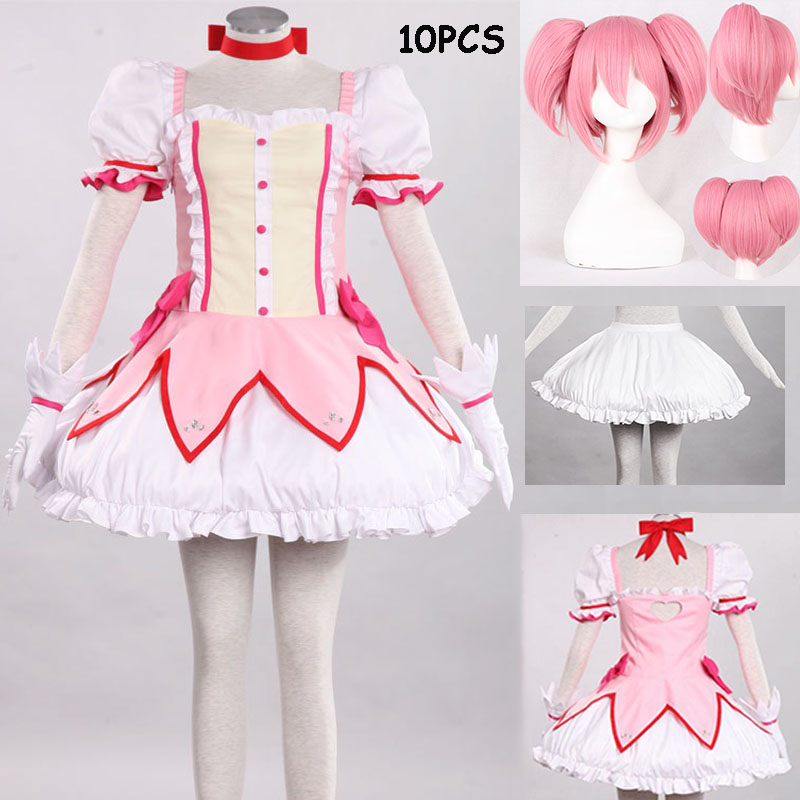 2019 Puella Magi Madoka Magica Magical Girl Kaname Madoka Cosplay Costume Short Ball Dress With Bowknots Cosplay Costume And Wig