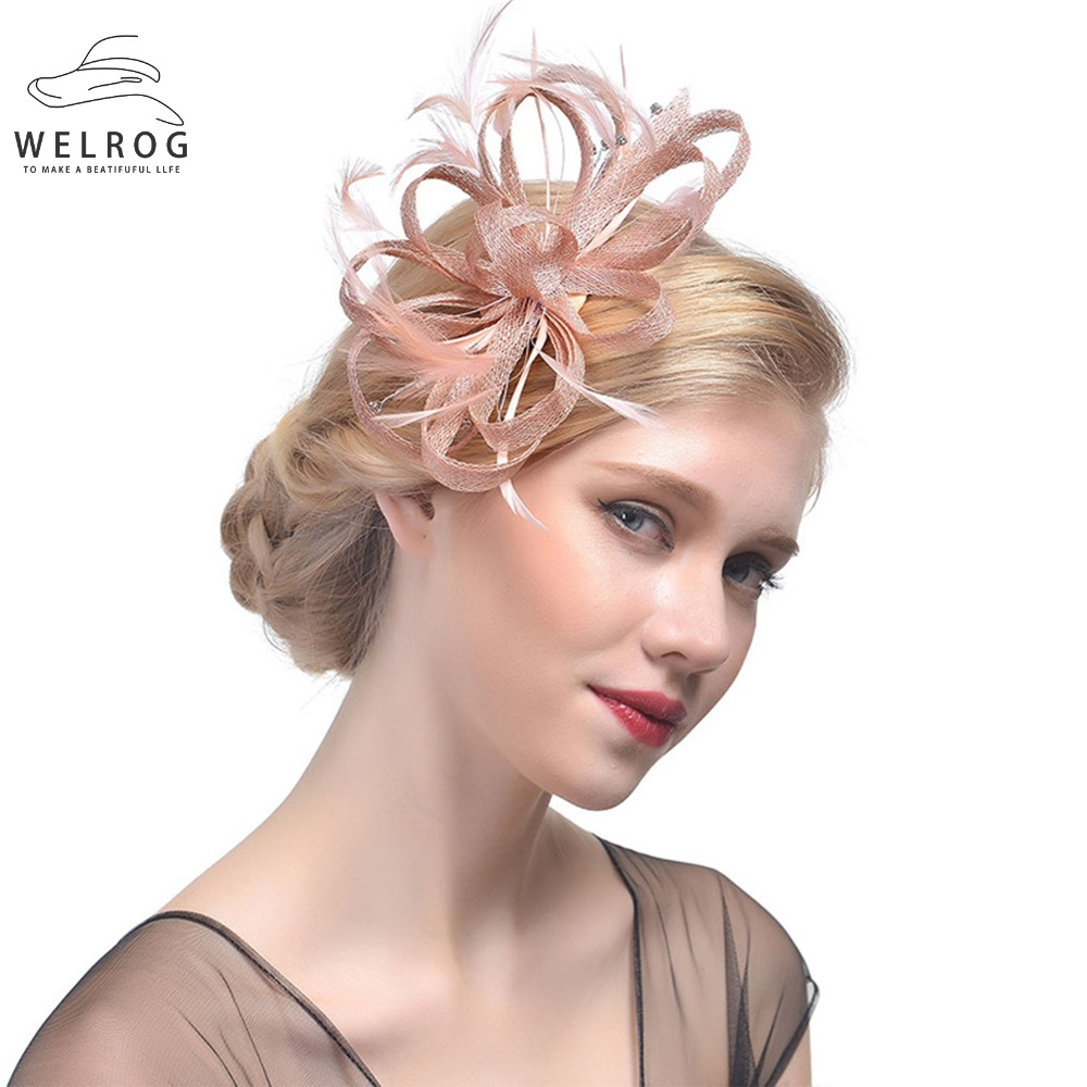 WELROG Fascinator Hats Women Feather Ribbon Sinamay Cocktail Hat Wedding Bride Church Hat Ladies Fedora Caps Headwear Party