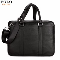 VICUNA POLO Famous Brand Fashion Casual Business Men Leather Briefcase Bag Trendy Solid Leather Mens Handbag
