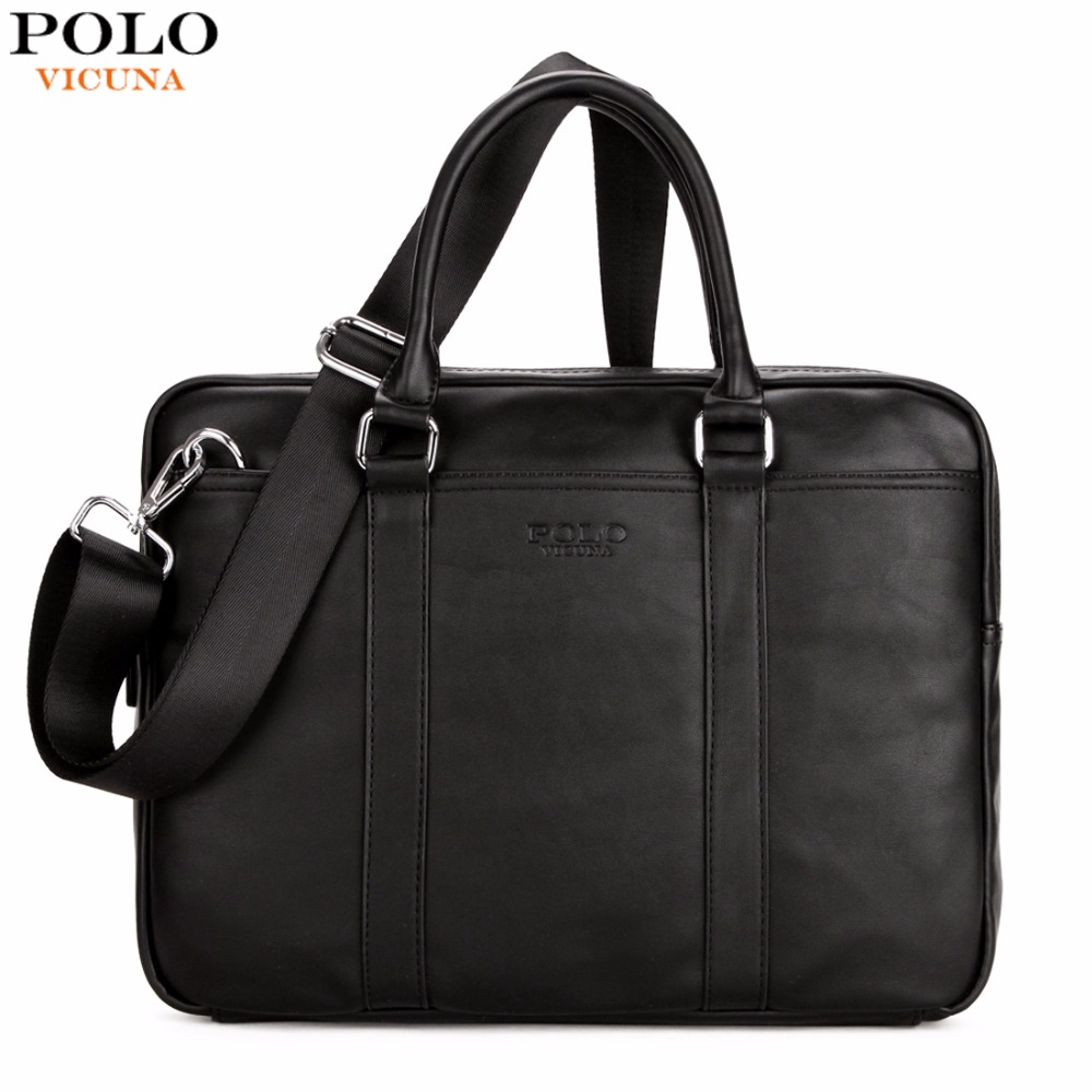купить VICUNA POLO Famous Brand Fashion Casual Business Men Leather Briefcase Bag Trendy Solid Leather Mens Handbag Simple Men Bag New онлайн