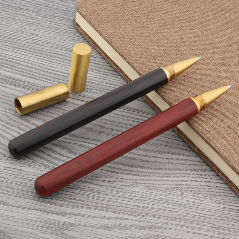 Rotate Twist Student Wood Pen Cover Metal Golden Trim ROLLERball PEN
