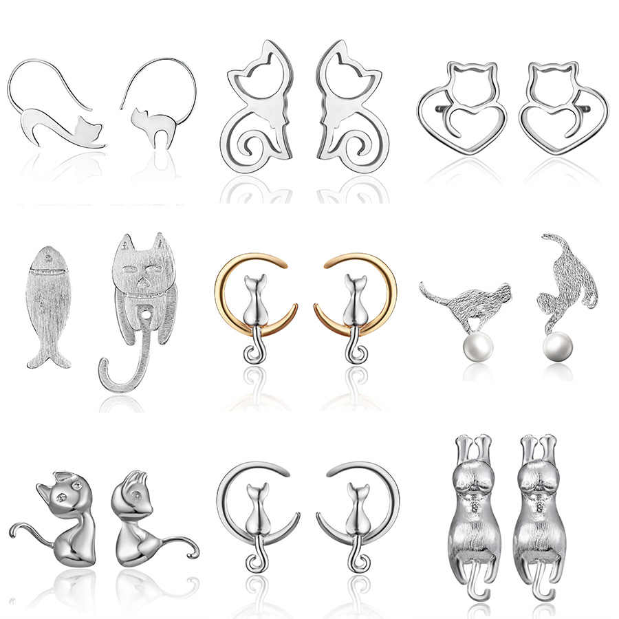2019 Minimalist Jewelry Female Earrings Rhinestone Cat Earring Cute Cat Stud Earrings Hollow Cat Fish Animal Ear Stud Girls Gift