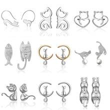 2019 Minimalist Jewelry Female Earrings Rhinestone Cat Earring Cute Cat Stud Earrings Hollow Cat Fish Animal Ear Stud Girls Gift rhinestone cat design hollow stud earrings