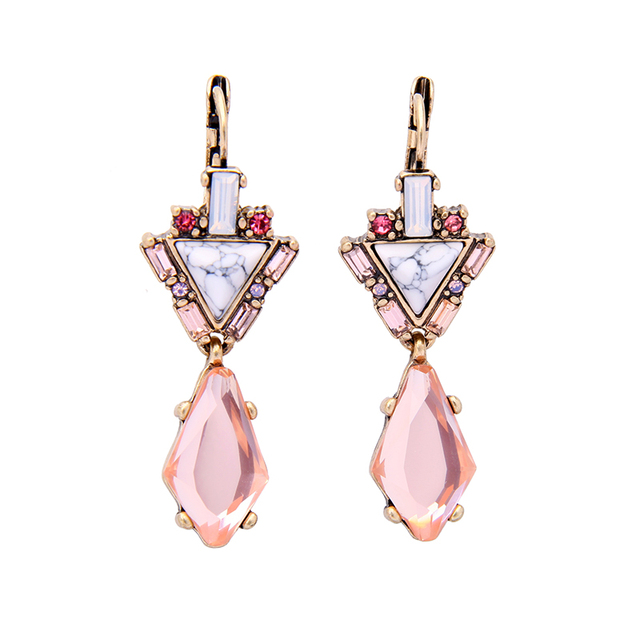 Geometric Synthetic Stone Pink Crystal Gl Long Drop Earring 2017 Hot Fashion Jewelry Pendant