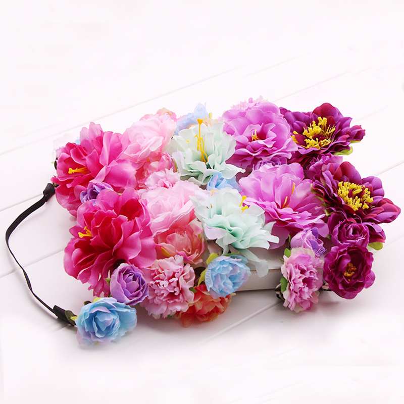 Peony colorful artificial flower Wreath Crown Headband Floral Garlands Bridal Headdress Hair Band Accessories elastic Headwear