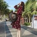 Богемный Dress Весной Старинных Печати Красный Лук Бинты Запястья Рукава Середины Икры Шифон Платья Женщин Мода Корейский Стиль