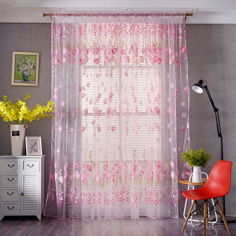 Tulip Pattern Sheer flower curtain Burnout Tulle Voile Fabric Transparent for living room window treatment window screening