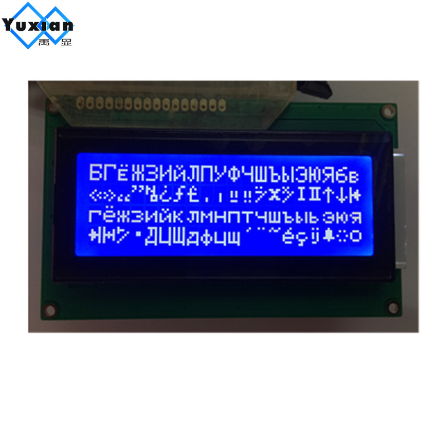 Free shipping 2pcs Russian / cyrillic font Language 20x4 204 2004A lcd display module blue professional lcd module factory