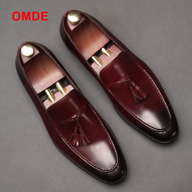 OMDE New Arrival British Style Men's Slip-on Shoes Genuine Leather Men Tassel Loafers Fashion Pointed Toe Mens Dress Shoes 2015 new spring and summer british top fashion leisure driving full grain embossed genuine leather slip on men s loafers shoes