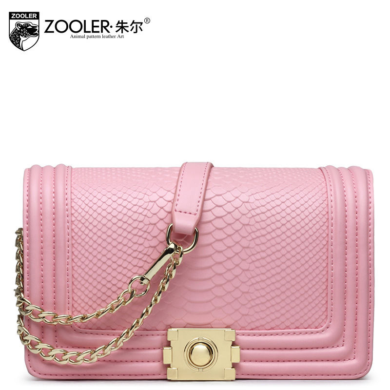 купить ZOOLER Women Chains Flap Genuine Leather Shoulder Bag Ladies Fashion Small Snake Pattern Messenger Bags Female Crossbody Bag недорого