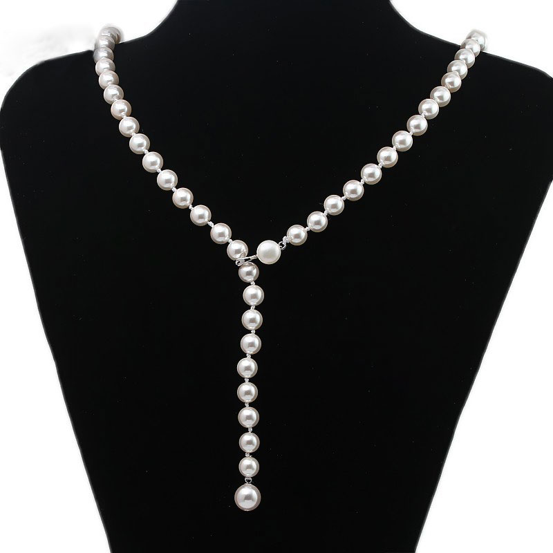 Nouveau collier de perles de coquille de conception Simple de bijoux de mode des femmes avec le fermoir magnétique en argent Sterling 925 SPN-D016