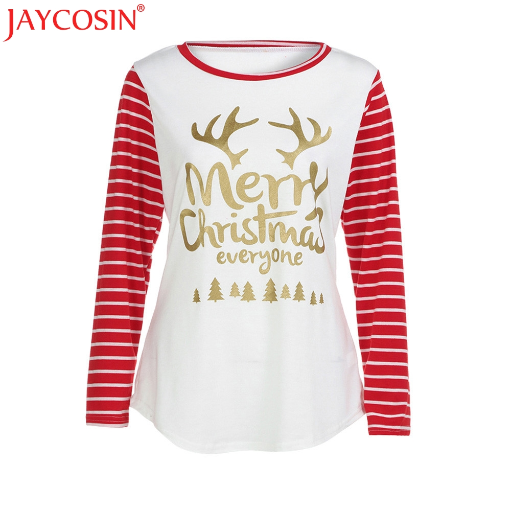 JAYCOSIN 2017 Fashion Women T-shirt Womens Print Letter Round Neck Loose New Casual Tops Shirts Nev7 Free Shiping