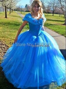 Женское платье Золушки, синее вечернее платье, взрослая Золушка, на заказ, новинка 2016