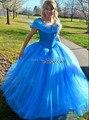 Novo 2016 Custom Made Azul Cinderela Vestido de Trajes Para As Mulheres Fantasia Vestido de Festa do Dia Das Bruxas Adulto Cinderela Vestido