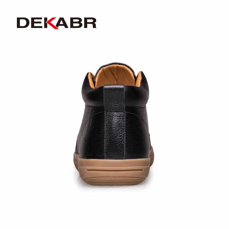 DEKABR/2019 г. Зимние мужские ботинки на меху, Теплые ботильоны Брендовые мужские зимние ботинки мужская повседневная обувь из натуральной кожи Большие размеры 38-47