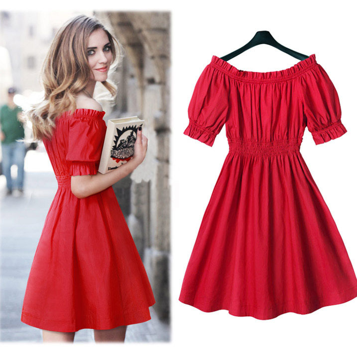 Summer Red Dresses For Women Off The Shoulder Tunic Uk