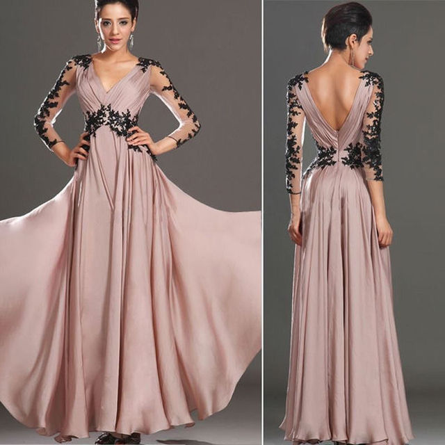 Cheap Sexy Lace Prom Dresses Under 100 Long Sleeve Backless Chiffon ...