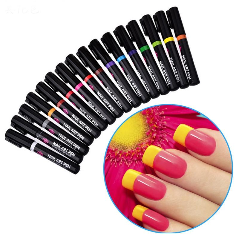 16 Colors Nail Art Painting Pens Set Professional Salon Home DIY ...