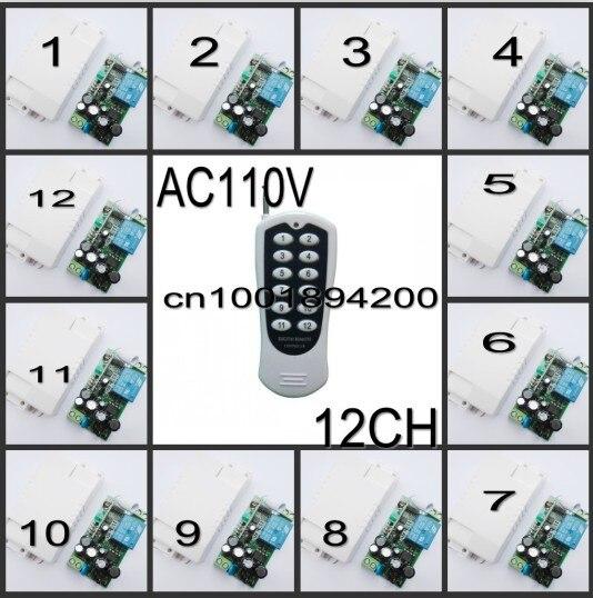 110 V AC commutateur à distance RF lumière LED lampe interrupteur d'éclairage à distance 12 récepteur transmetteur 1CH sans fil commutateur numérique 315/433 apprendre