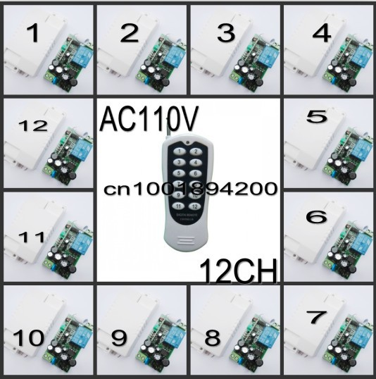 110V AC Remote Switch RF LED Light Lamp Lighting 12 Receiver Transmitter 1CH Wirelss Digital 315/433 Learn