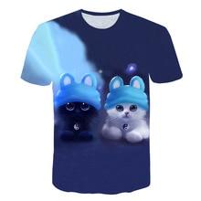 Harajuku Cute 3D Print Animals Cats Tshirt Men/women Hiphop Streetwear T shirt Boy T-shirt Clothes Man Kawaii Oversized