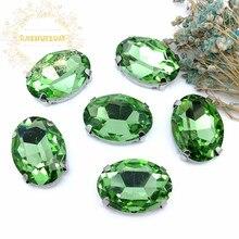 ¡Nuevo! Luz verde de cristal de coser-En OVAL diamantes de imitación con garra de vestidos y Clothes13 * 18 10*14 8*10 18*25 20*30 6*6*8