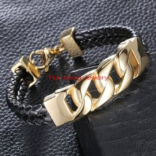 2015 New Fashion Mens Stainless Steel Gold Curb Cuban Chain Bracelet And Black Genuine Leather Bangle Jewelry 15MM Width