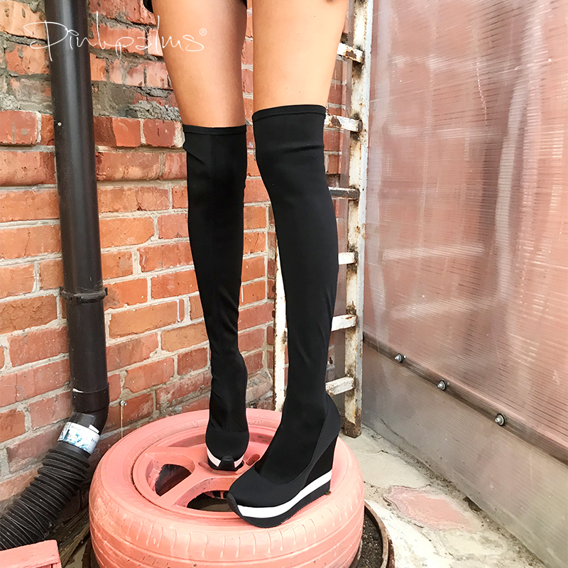Pink Palms Autumn Winter Shoes Women Over The Knee Sexy High Heels Wedge Boots Stretch Fabric Sock Boots Students Boots
