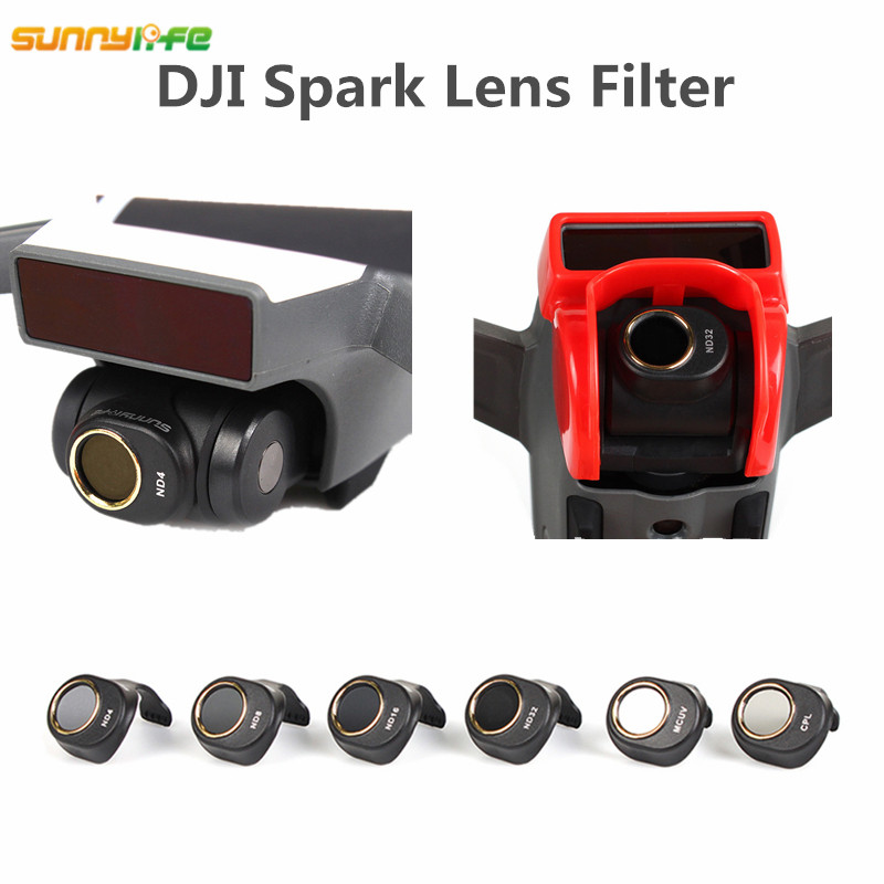 Sunnylife DJI Spark ND4 ND8 ND16 ND32 MCUV CPL Lens Filter for Spark HD Clear Waterproof Camera Lens Multi-Layer Coating Films
