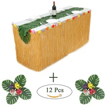 Hawaiian Luau Table Skirt Yellow Grass Table Skirt 9ft long With Hibiscus Tropical Leaf Grass Table Runner for Party Decoration цена 2017