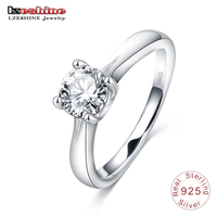 LZESHINE Genuine 100 925 Sterling Silver Simple Ring With Cubic Zirconia Diamond For Women Wedding Lovers