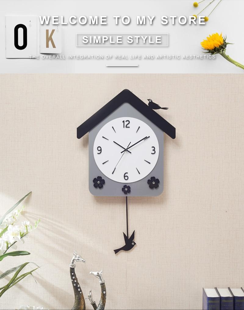 Rock n Roll Wall Clock Retro Room Clock Cloock Nordic Clock Wood Wall Clock Mickey Kitchen Big Clock Wall Mirror Wall Clock Watch (1)