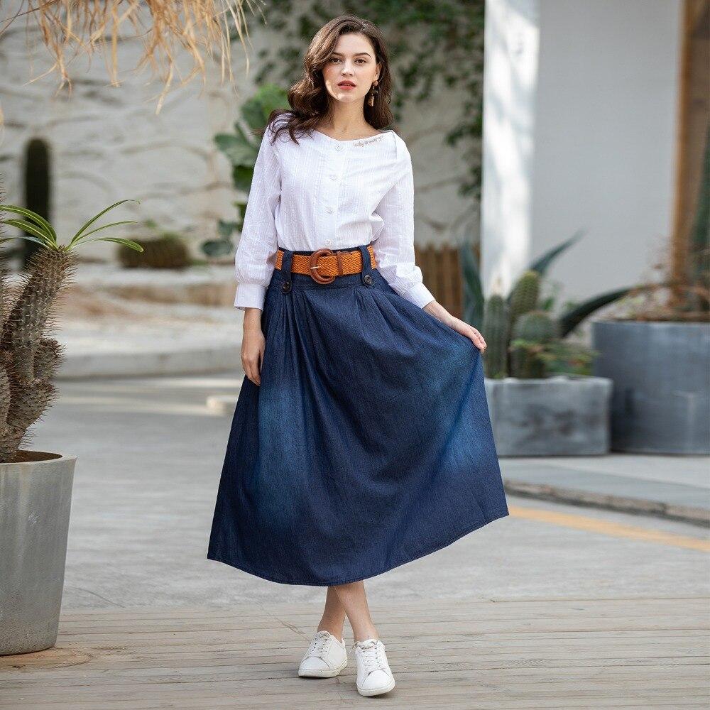 DTYNZ 2019 Womens Plus Size Long Denim Skirts High Waisted Summer Maxi Skirt Pleasted Female Vintage S/6Xl Saias  Loose Skirt S6 skirt