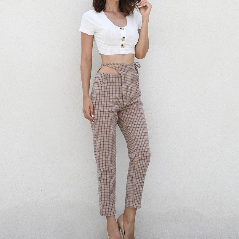 Women Plaid Trousers Ladies Sport Pants
