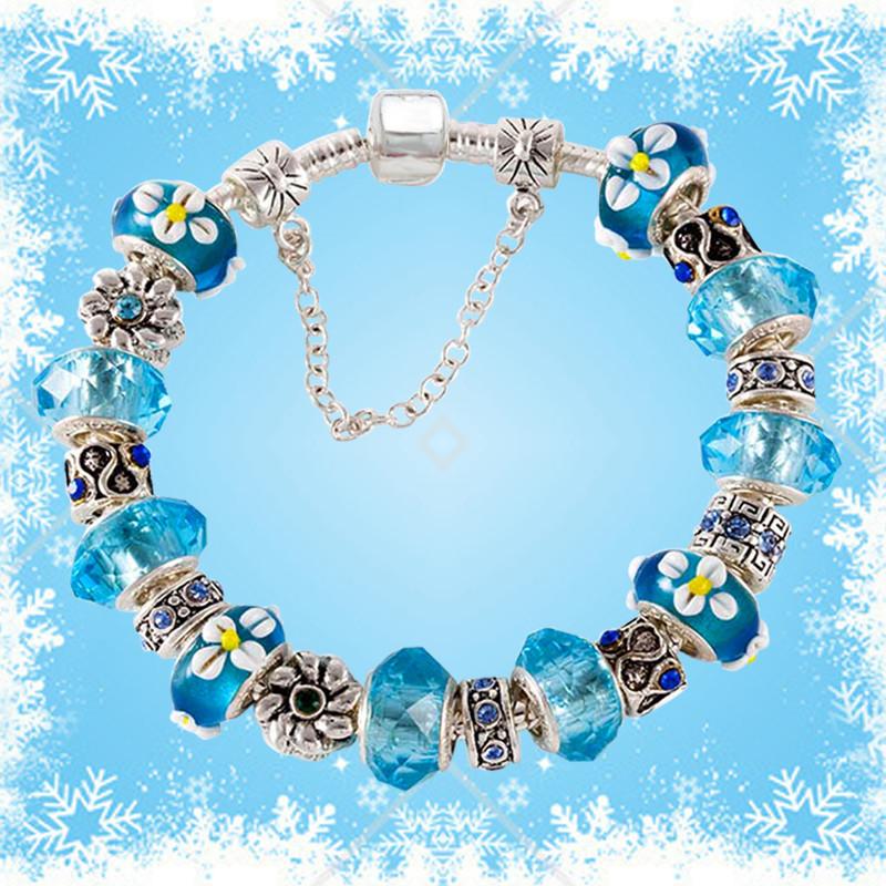 синий муранского стекла бусины из бисера европейский стиль браслет женская ювелирные изделия подарок любви подарок для матери мама мама