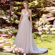 Verngo A-line Wedding Dress Lace Tulle Wedding Gowns V-neckline and V-back Bride Dress Simple Wedding Dress 2019 Vestido Novia недорого