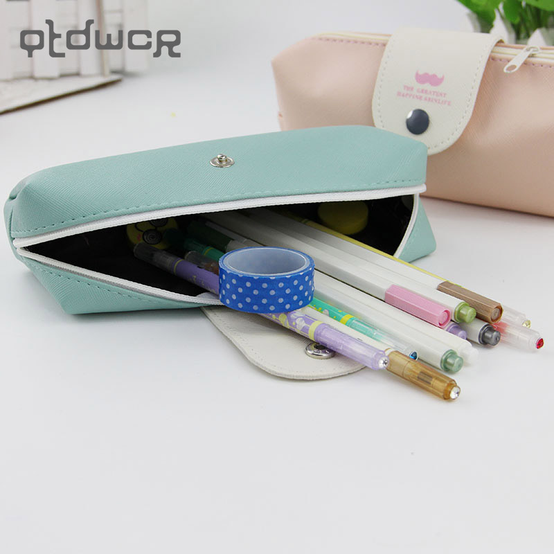 1x Candy Color Student Zipper Pencil Bag Pu Leather Pencil Case Student Stationery Supplies
