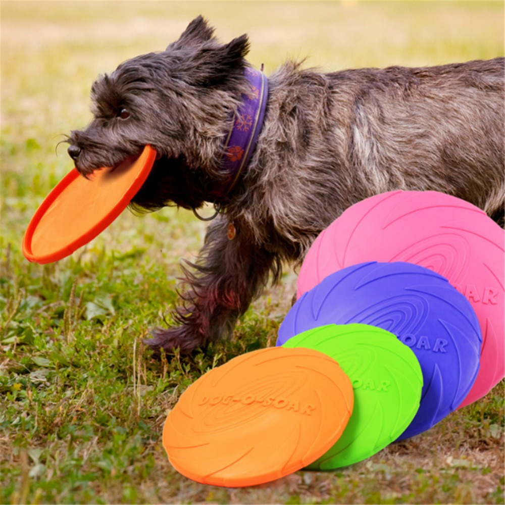 1pcs Funny Silicone Flying Saucer Dog Cat Toy Dog Game Flying Discs Resistant Chew Puppy Training Interactive Dog Supplies