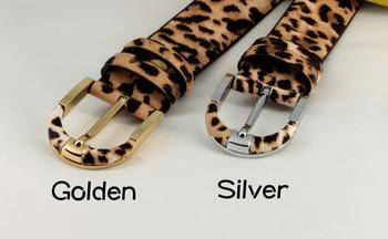 Genuine leather+pvc leopard print belt for women fashion pin buckle waist woman belt luxury desigener brands leather belt female