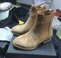 2017 season2 новый челси сапоги sharp toe kanye west ботинки подлинной кожа 1:1 fishion стиль жизни евро и Америка средний каблук GD