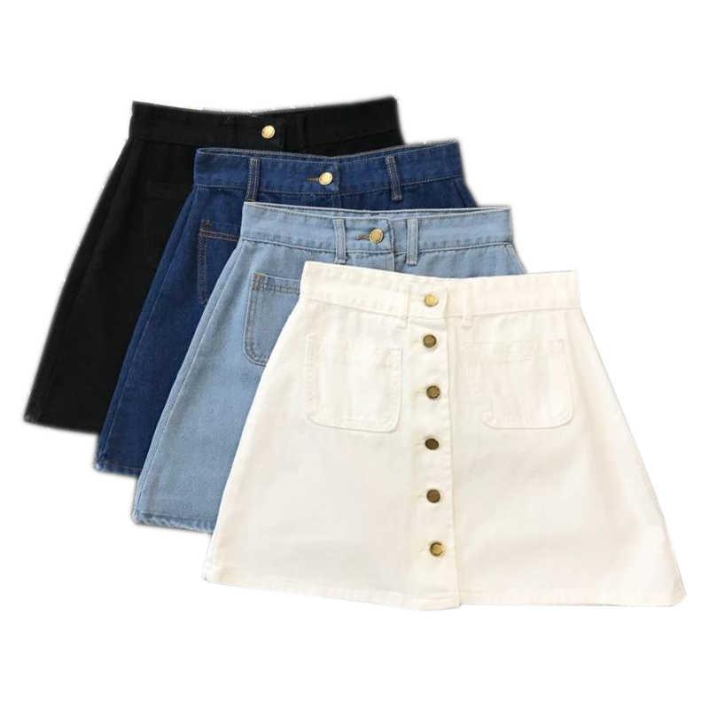 Di estate Delle Signore Delle Donne A-Line Tasto Frontale A Vita Alta In Denim Piccole Tasche Dei Jeans Della Matita del Pannello Esterno del Pannello Esterno Nero Bianco Quattro Colori