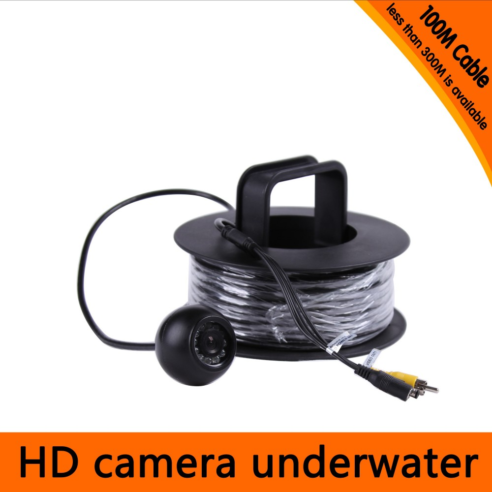 100Meters Depth Underwater Camera with 12PCS white LEDS & Leds Adjustable for Fish Finder & Diving Camera 20meters depth fish like underwater camera with 2pcs 2 walt white leds for fish finder