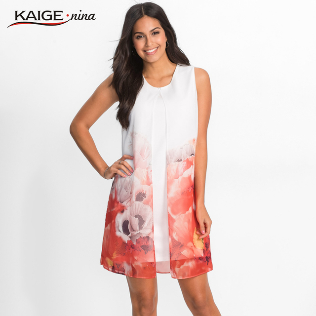 US $16.49 45% OFF Kaigenina Plus Size Women Summer Elegant Print Dress  Casual Sleeveless O Neck Mini Dress Bohemian Style Beach Dress 18092-in  Dresses ...
