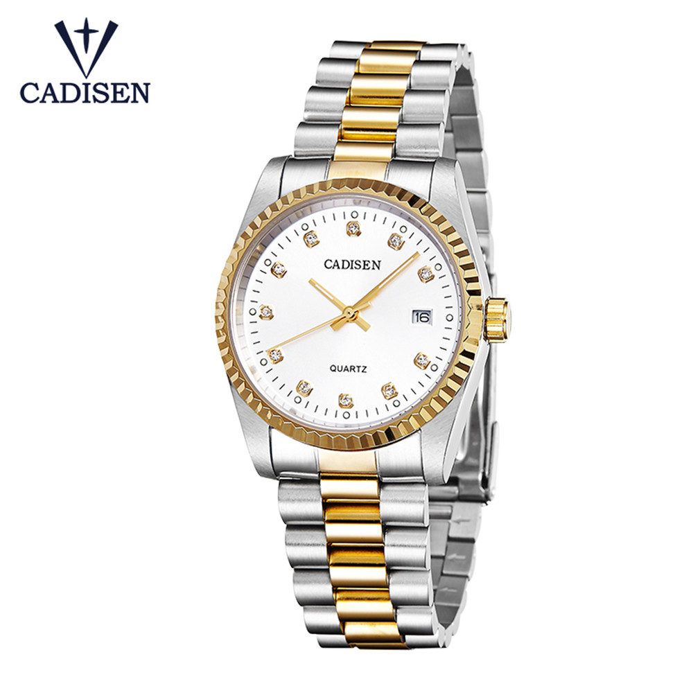 CADISEN Fashion Casual Quartz Watch Men Classic Brand Luxury Wrist Stainless Steel Relogio Masculino Gold Watch Mens Watches luxury brand biden mens watches multi time zone casual quartz wrist watch men mesh stainless steel band relogio masculino