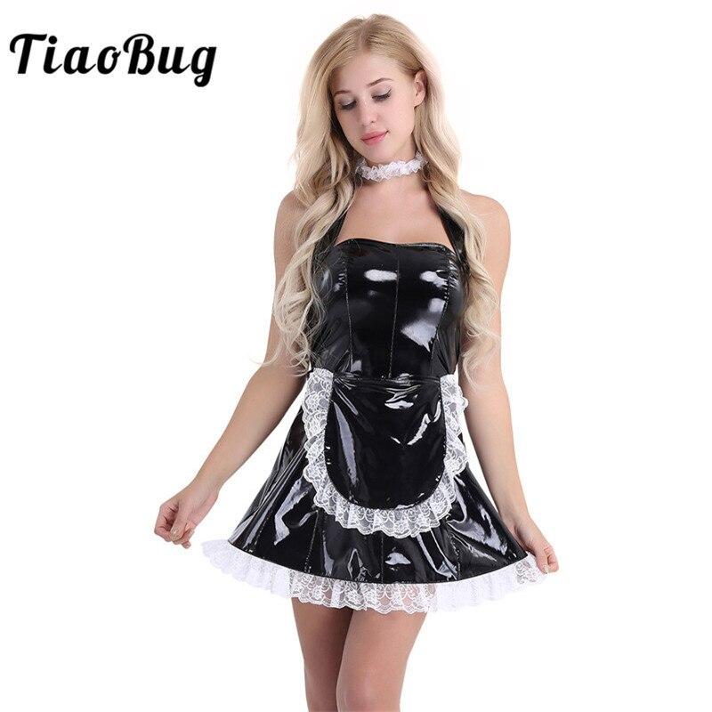 Eerlijk Tiaobug 3 Stks Vrouwen Wet Look Lakleer Sexy Cosplay Kostuums Dienstmaagd Halter Jurk Met Schort En Hals Ring Maid Kostuum Grote Rassen