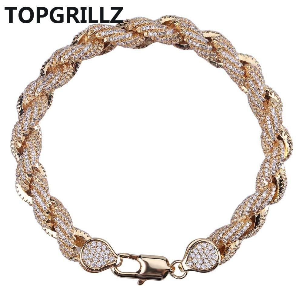 Bling Bling Iced Out Cubic Zircon 8mm Rope Chain Bracelet Hip Hop Men s Gold Color