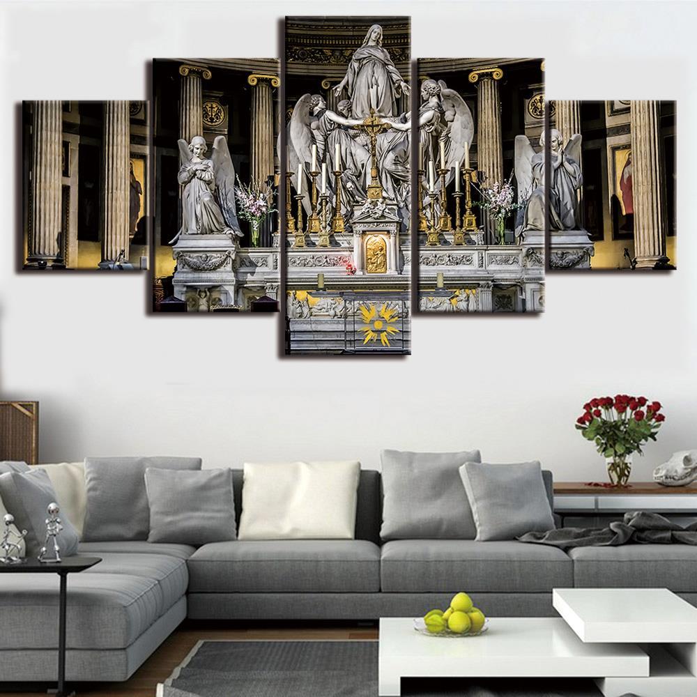 5 Teile/satz HD Gedruckt Gerahmte Jesus Statue Christian Kirche ...